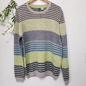 DIVIDED striped knitted chunky crew neck sweater L